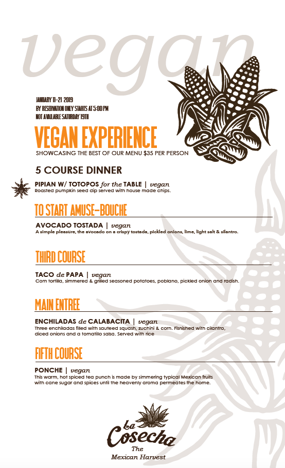 Vegan Dine Downtown menu